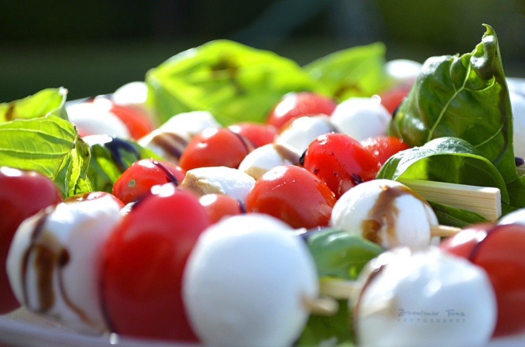 Cherry Tomatos And Mozarella With Fresh Basil